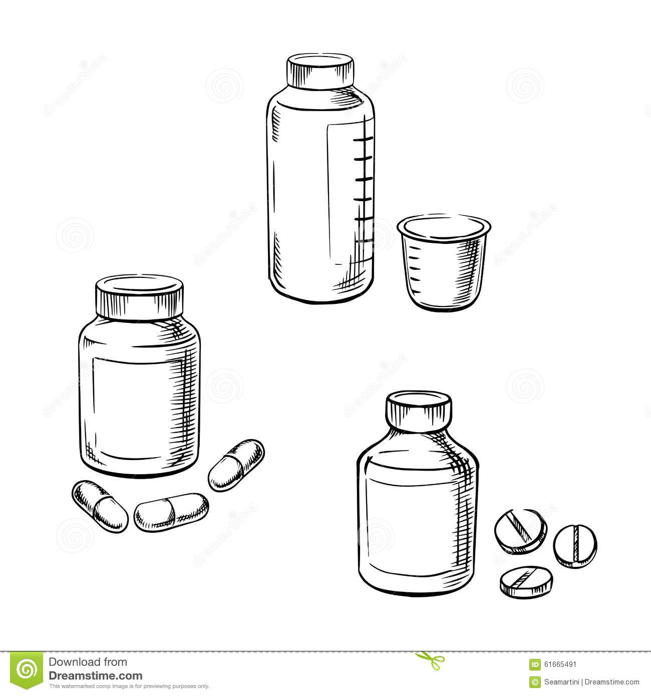 Bottles With Pills Capsules And Cough Syrup Stock Vector