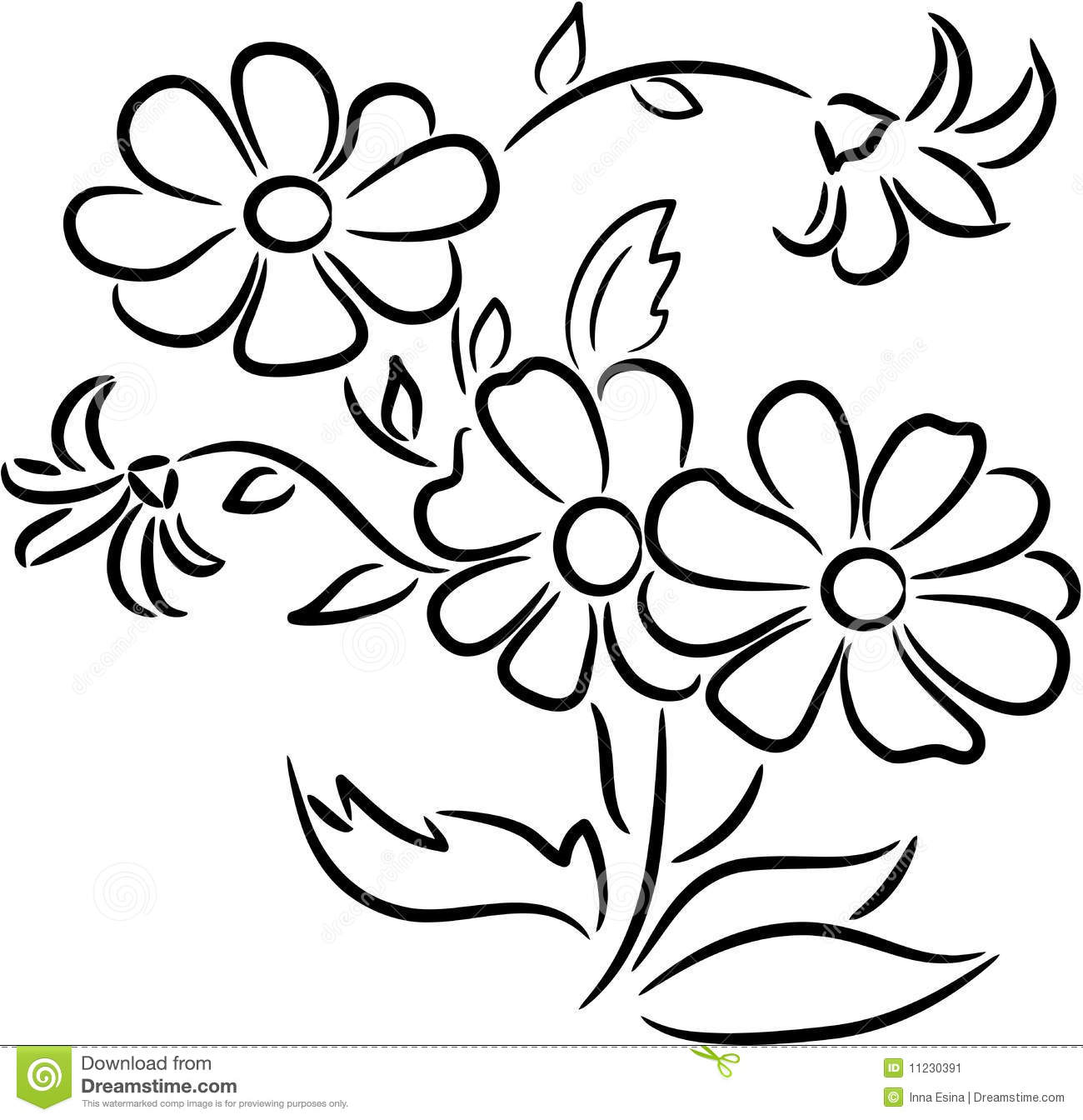 Bouquet Of Flowers Stock Vector Illustration Of Line