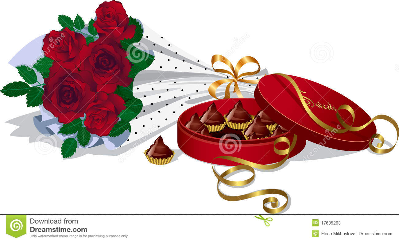 Bouquet Of Roses And Chocolates Stock Photos Image 17635263