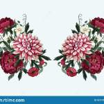 Bouquets With Dahlia Peonies And Wild Flowers Vector Stock Vector Illustration Of Beauty Blossom 161178181