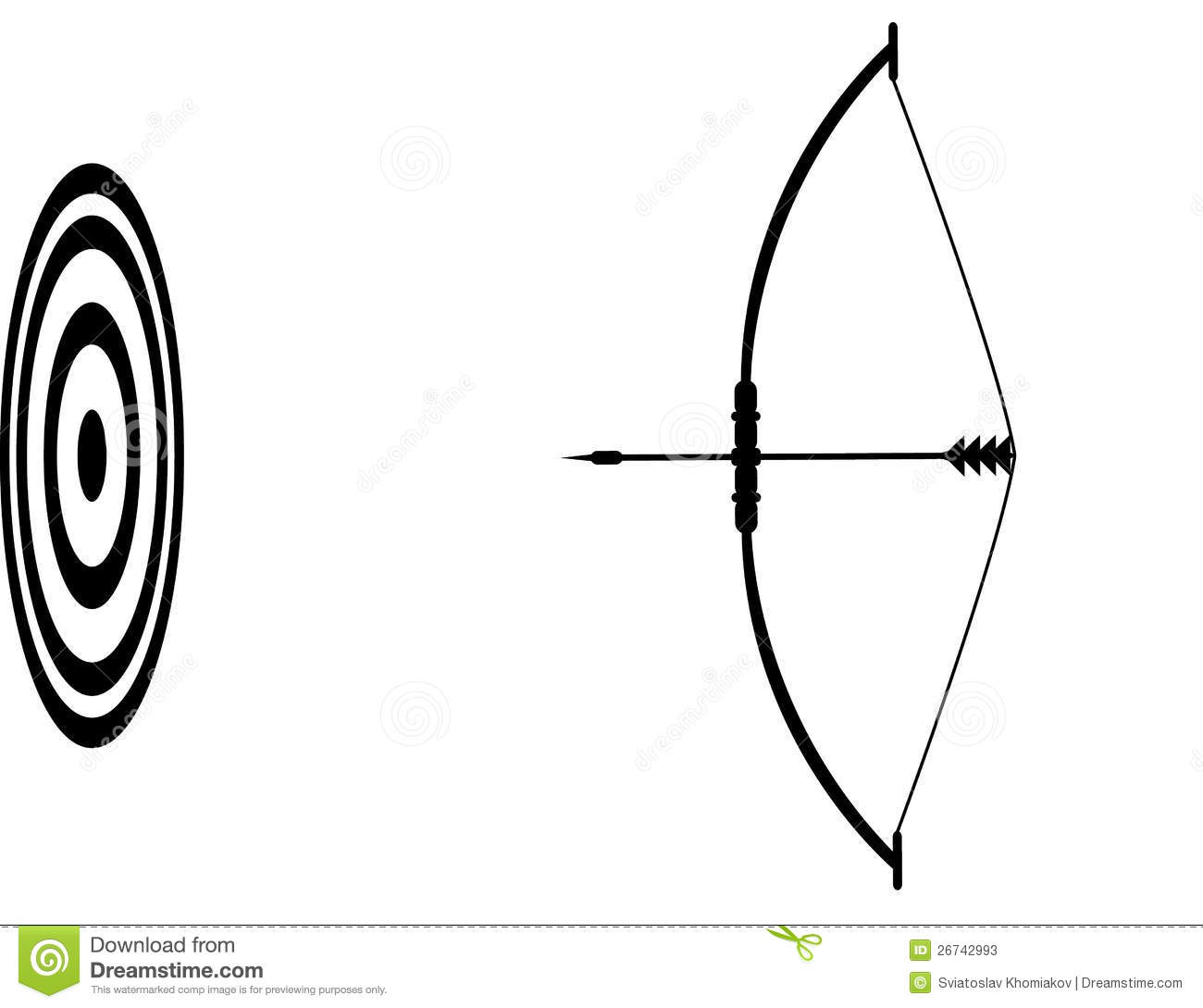 Bow And Arrow And The Target Stock Photos