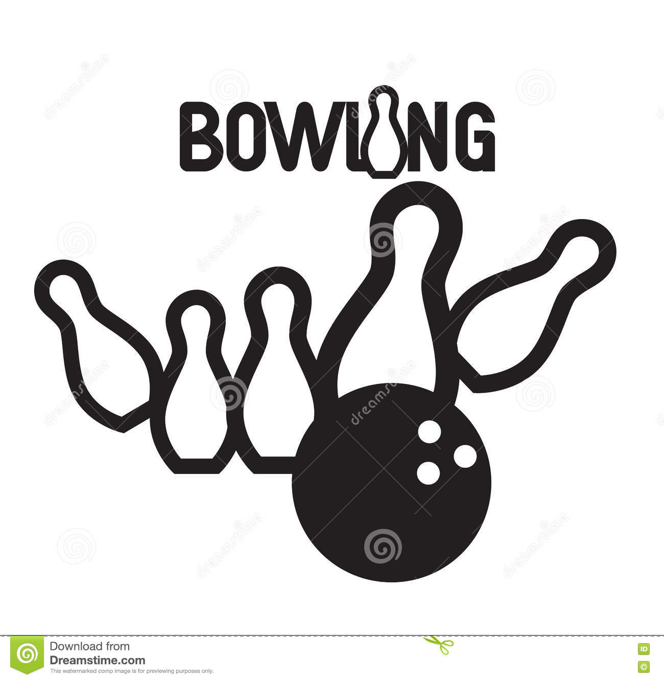 Bowling Logo Design Stock Vector Image Of Bowl Element