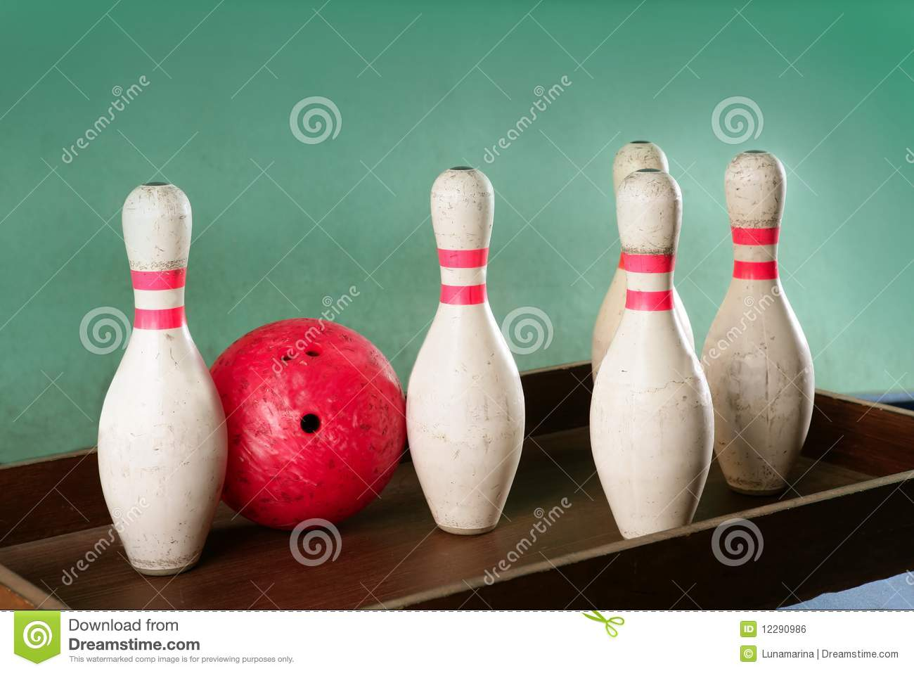 Bowling Still Life Red Ball Over Green Background Stock Photo     Bowling still life red ball over green background