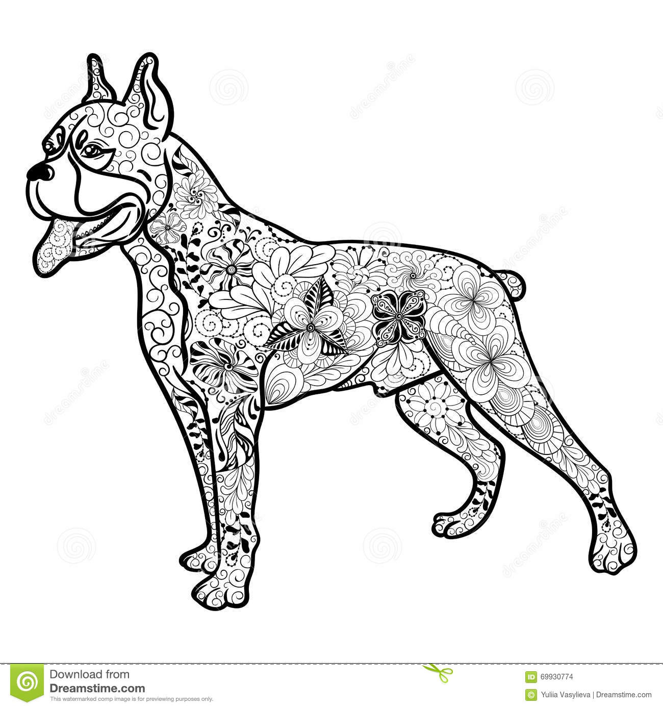Boxer Dog Doodle Stock Vector Illustration Of Style