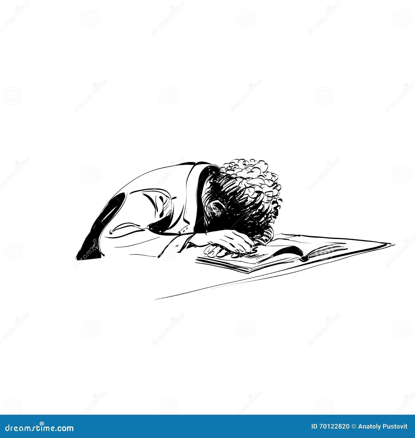 Boy Asleep On A Textbook Education School Stock Vector