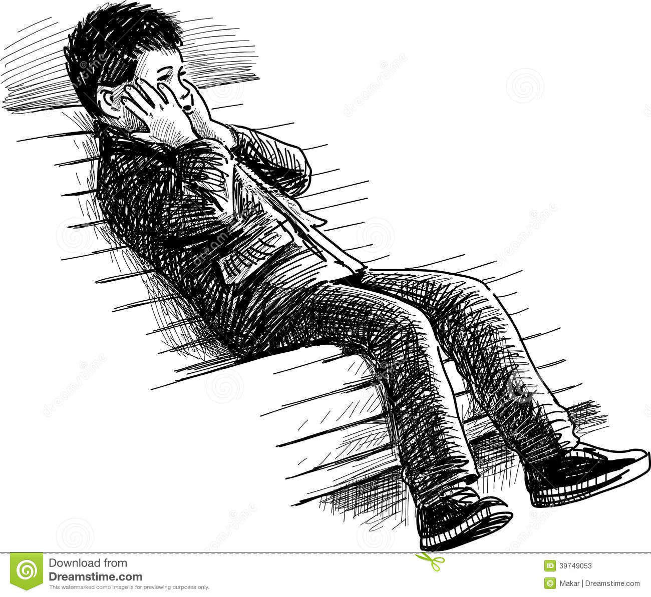 Boy On The Bench Stock Vector Illustration Of Sitting