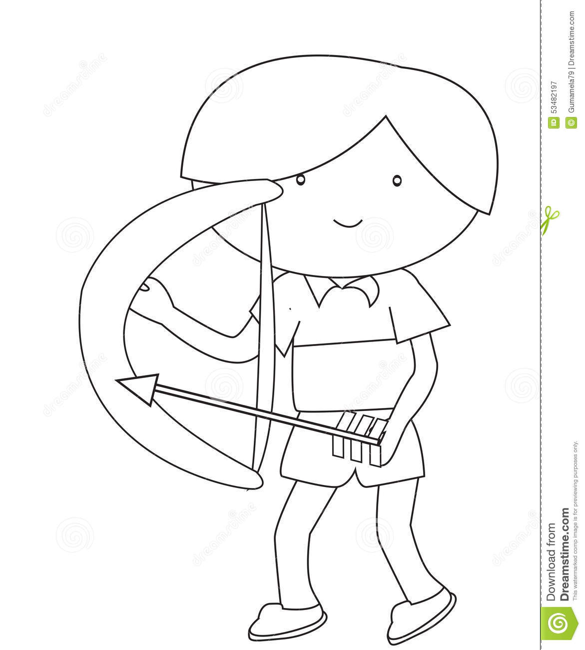 Boy With A Bow And Arrow Coloring Page Stock Illustration