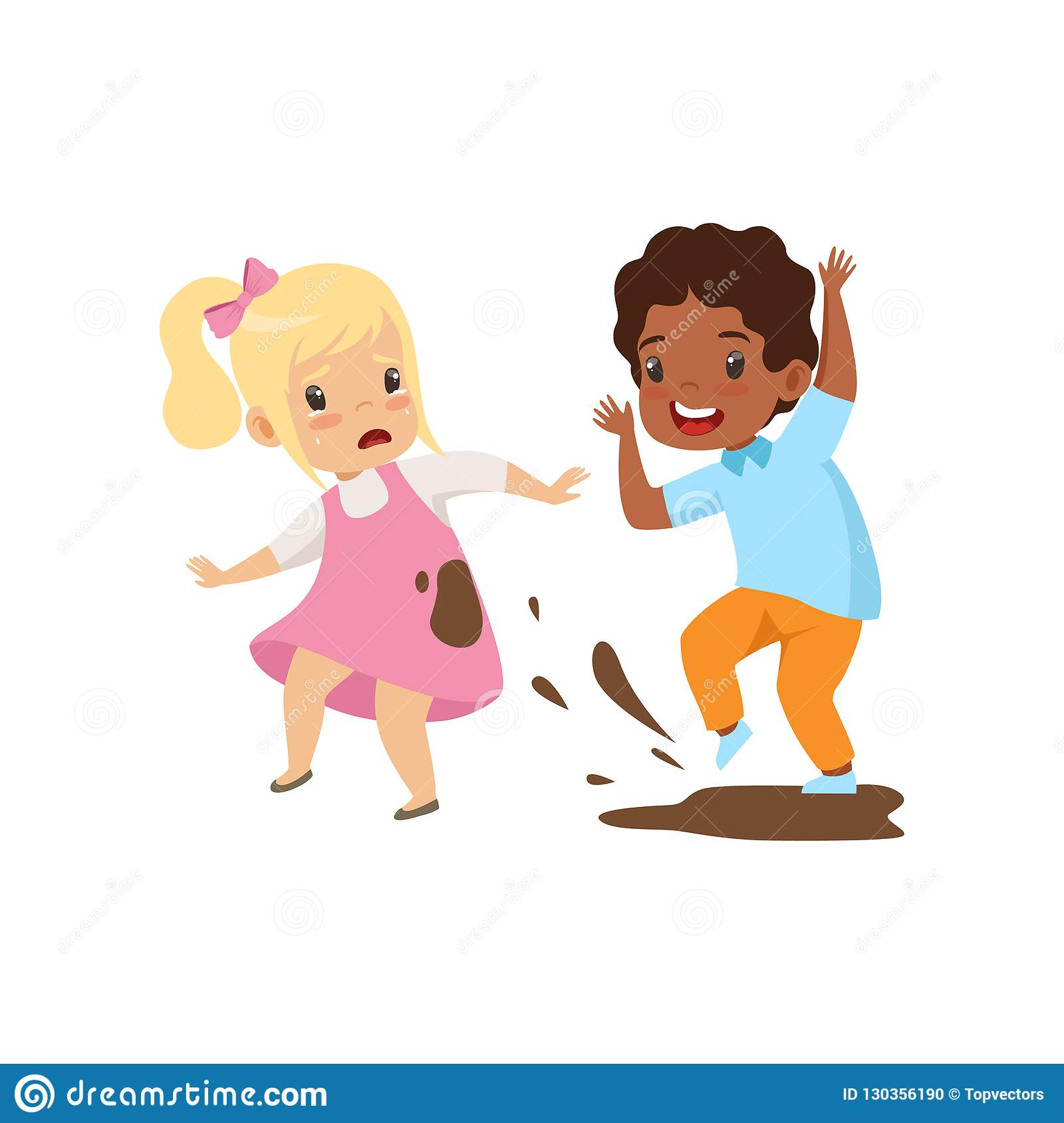 Boy Dirtying The Girl With Dirt Bad Behavior Conflict