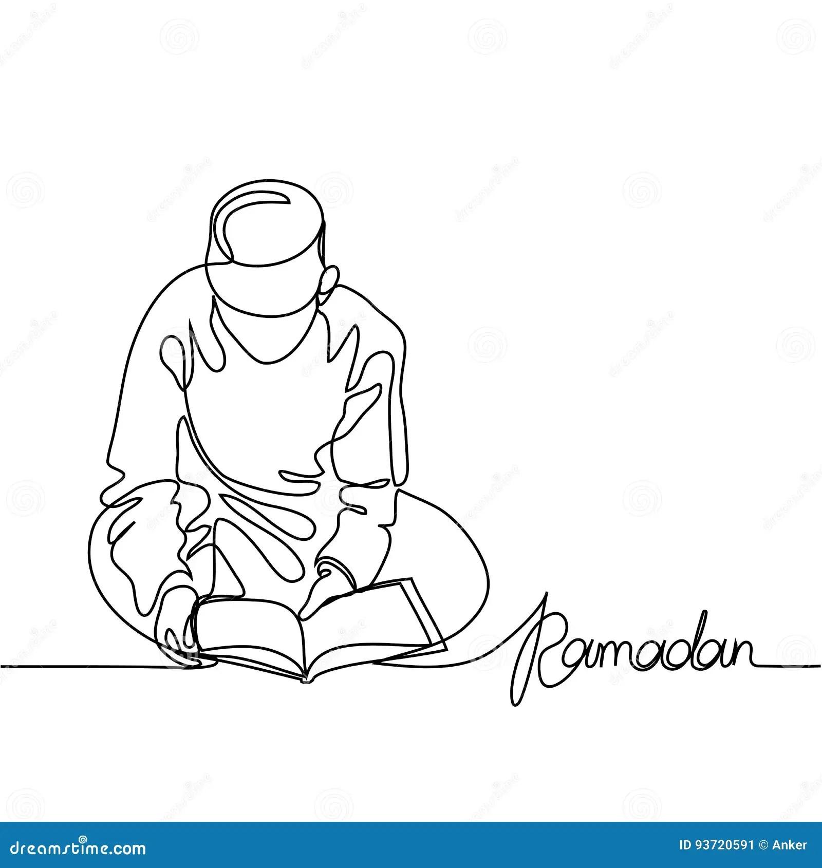 Boy Reading A Book Outline Cartoon Vector