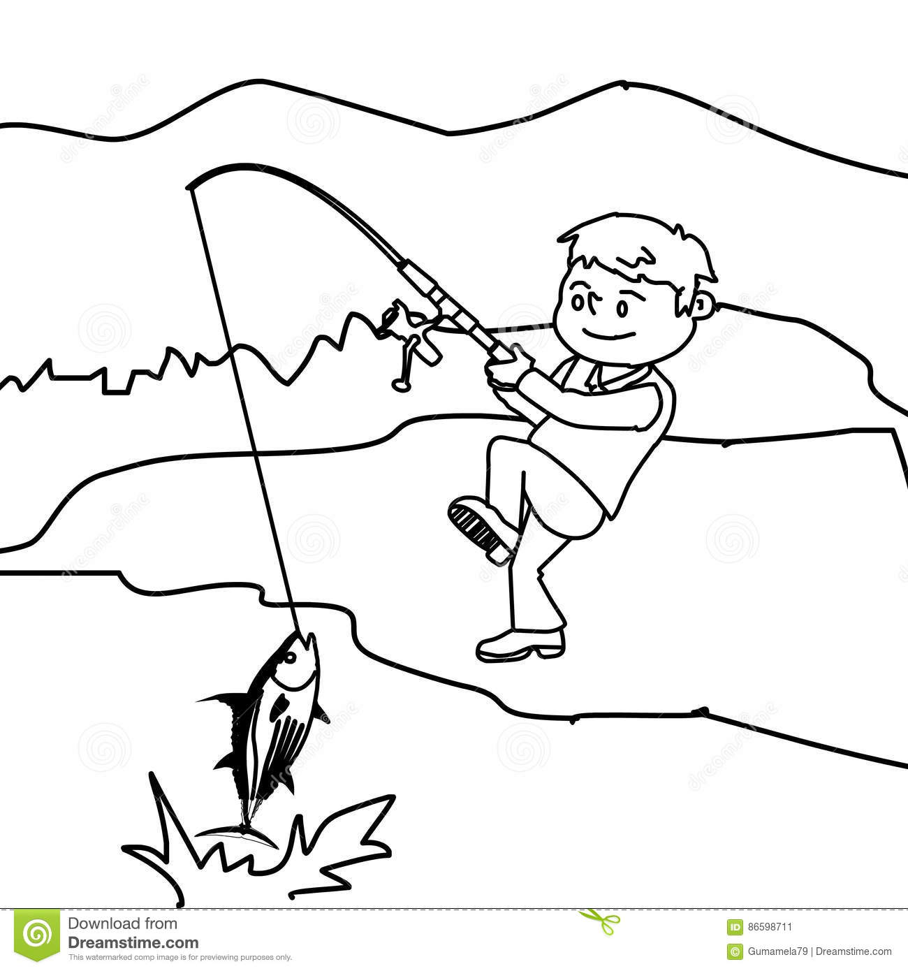 Free Coloring Pages Boy Fishing Coloring Page