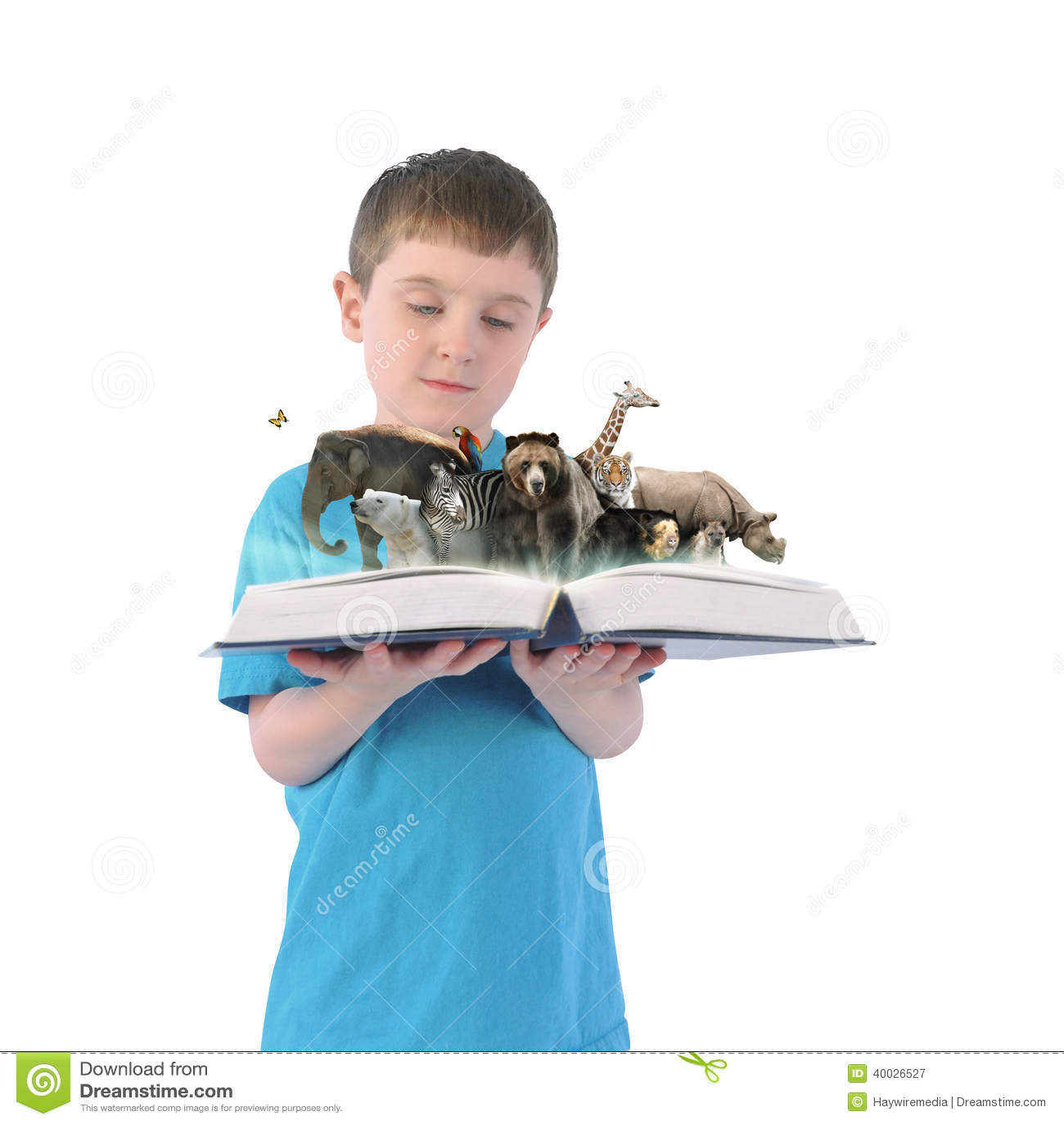 Boy Holding Book Of Wild Animals On White Background Stock