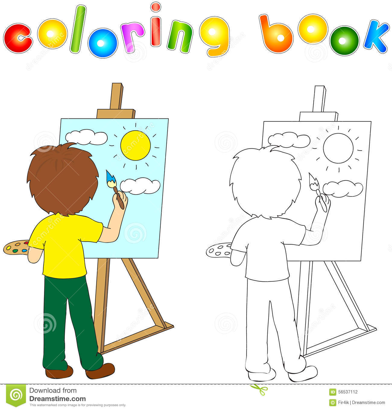 Boy Palette Brush Painting Canvas Artist H His Easel Coloring Book Vector Illustration 56537112 Jpg 1 300 Coloring Books Coloring Book Download Canvas Painting