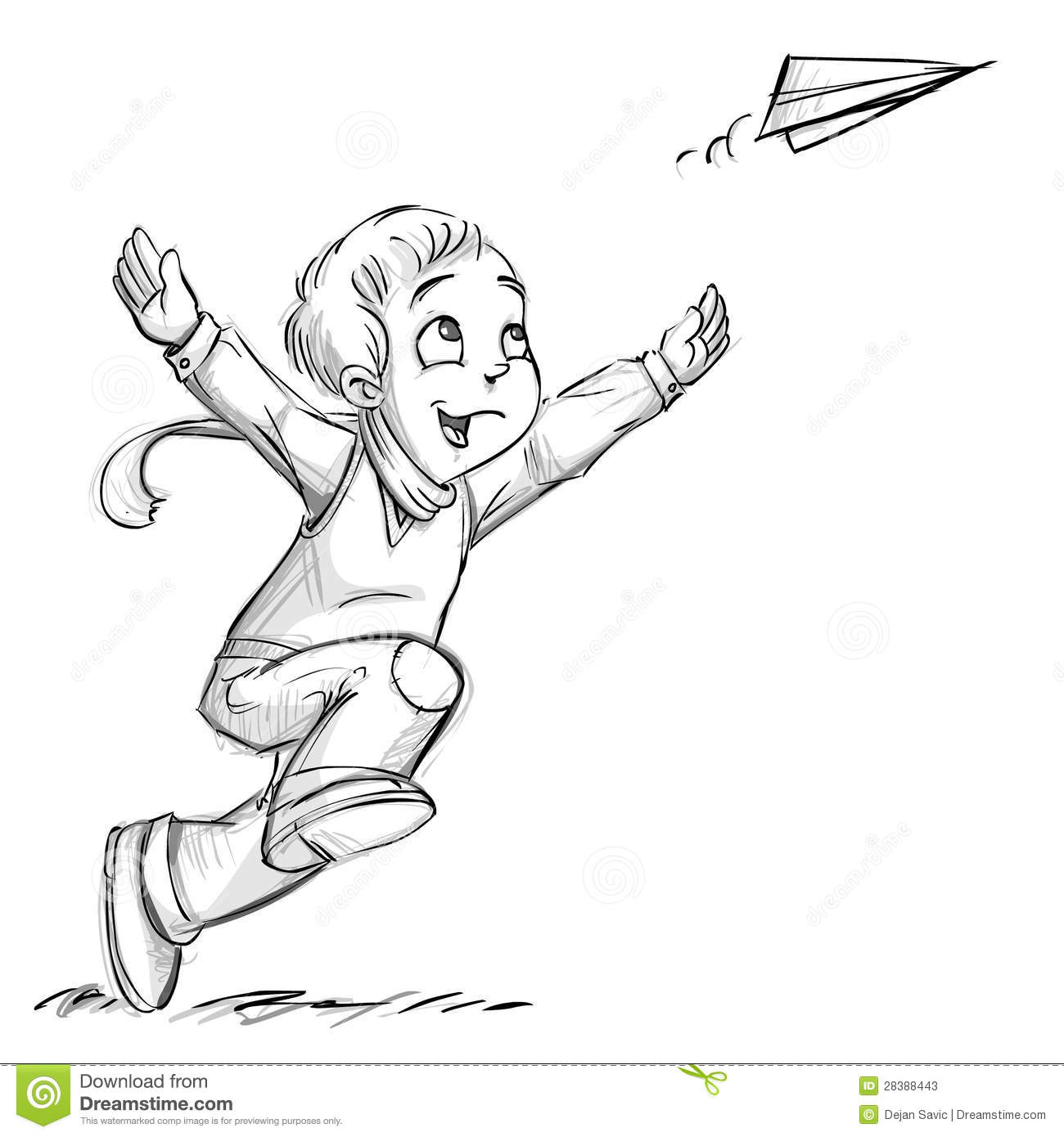 A Boy With A Paper Plane Stock Illustration Illustration