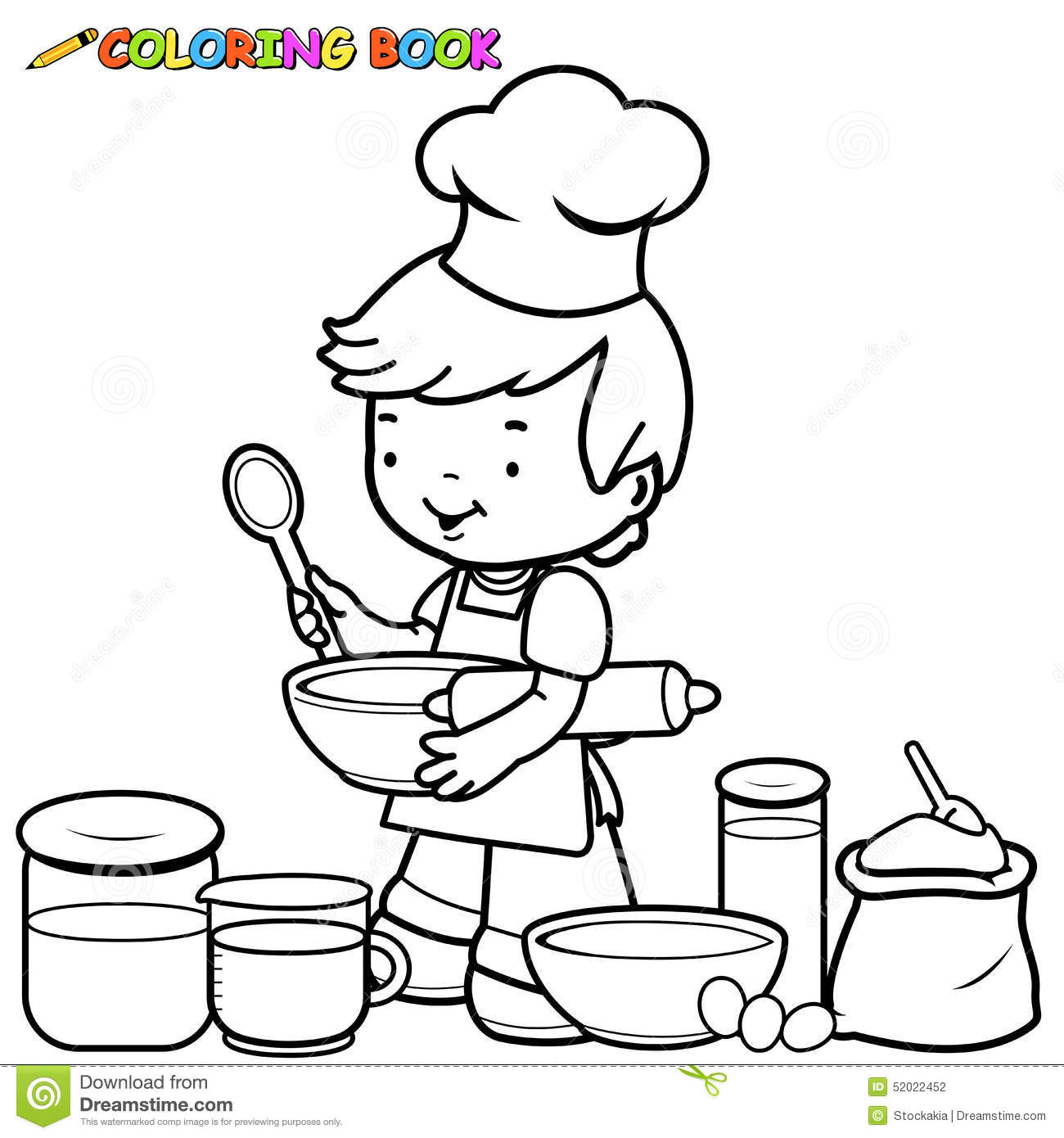 Boy Cooking Coloring Page Stock Vector