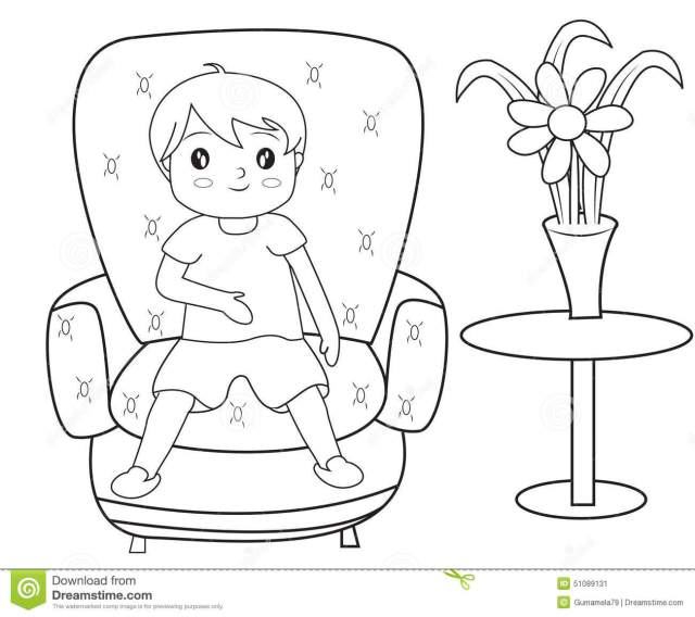 Boy Sitting on a Sofa Coloring Page Stock Illustration