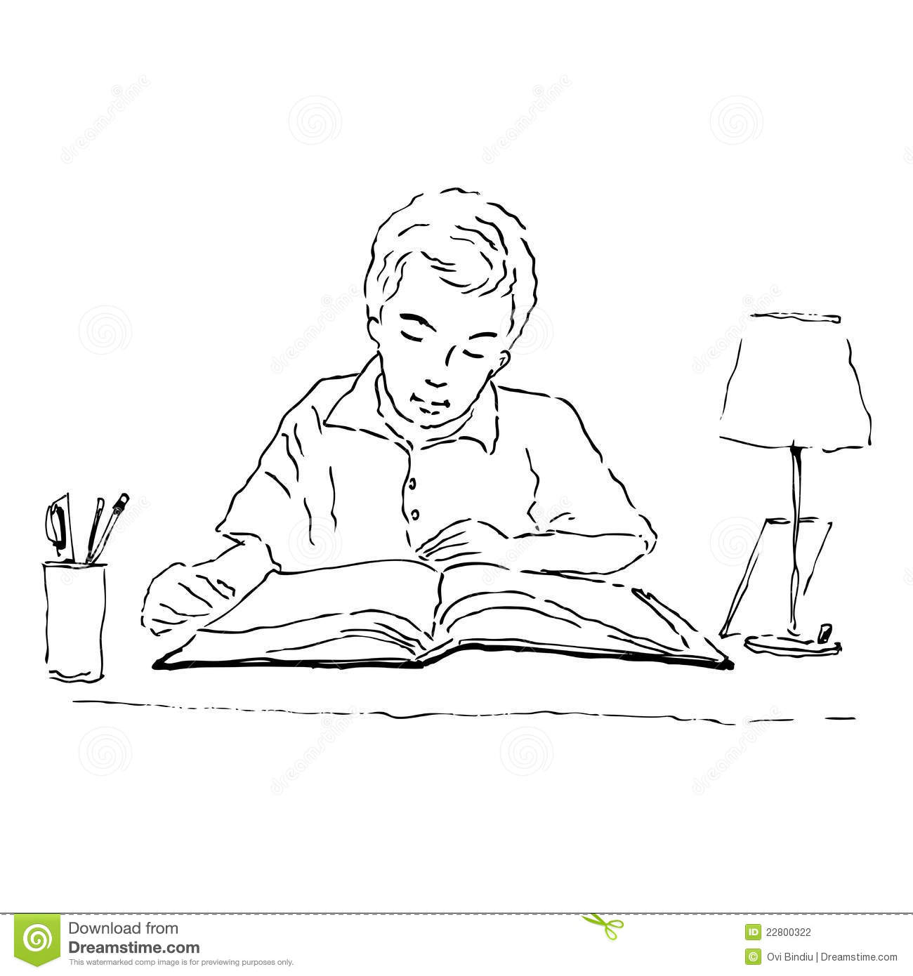 Boy Studying Stock Illustration Image Of Cartoon Study