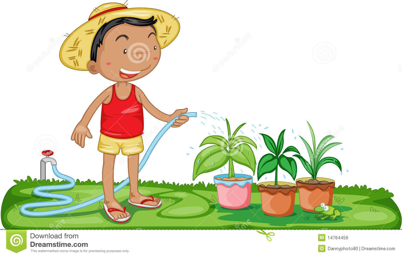 A Boy Watering Plants Stock Vector Illustration Of Pipe