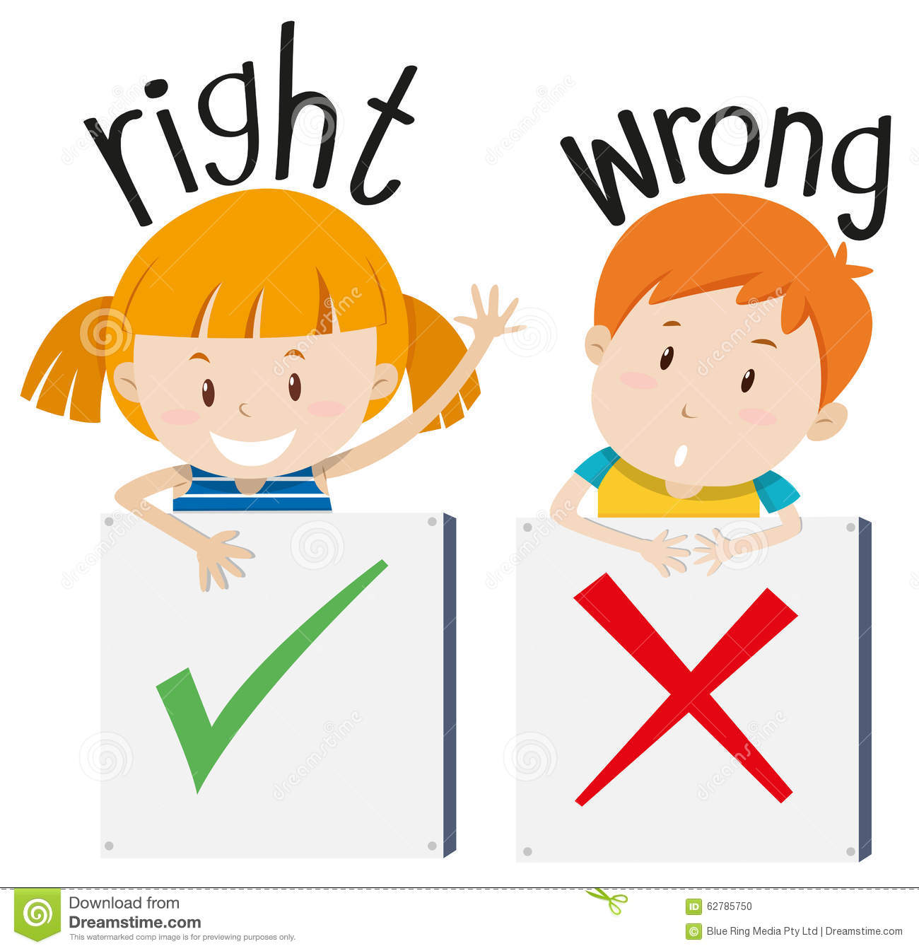 Boy With Wrong Sign And Girl With Right Sign Stock Vector