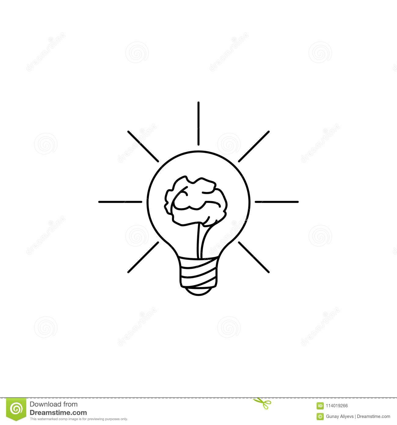 Brain In A Light Bulb Icon Element Of Idea And Solutions