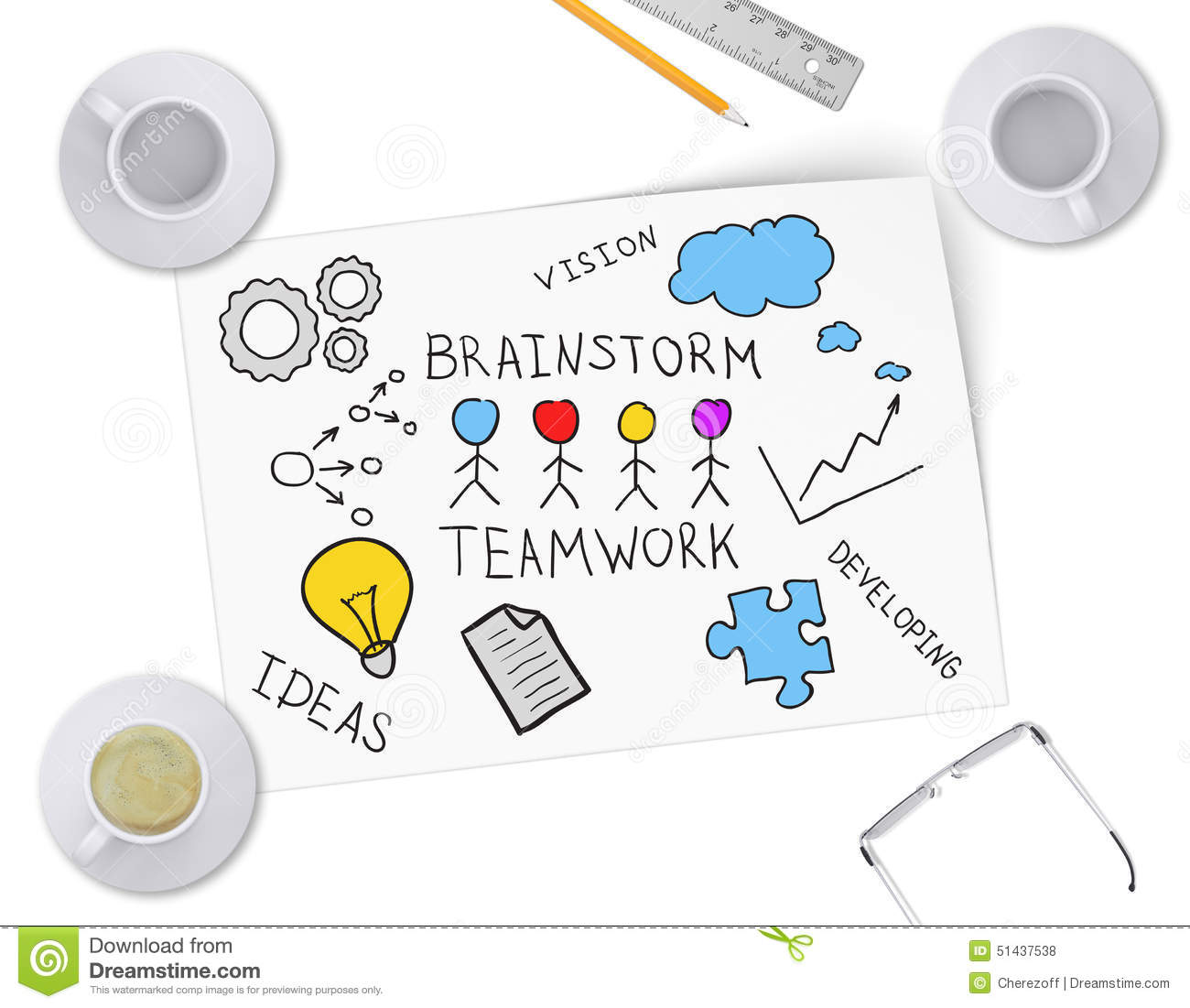 Brainstorming Ideas For Business Project On Sheet Stock