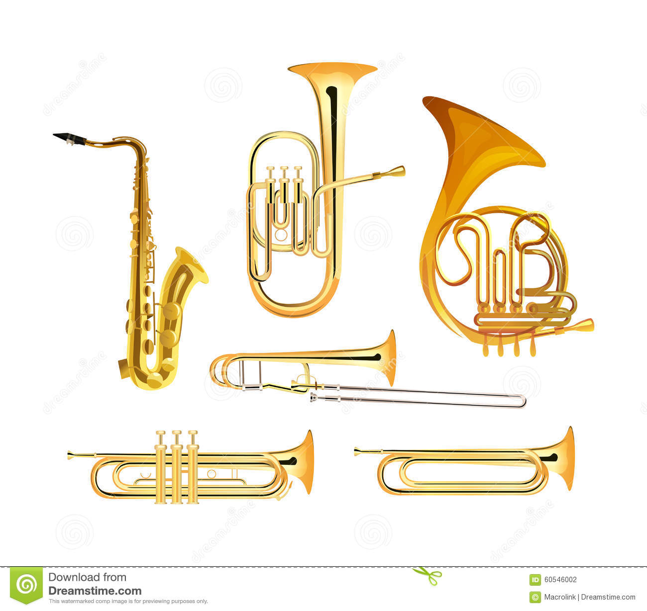 Brass Wind Orchestra Musical Instruments Stock Vector