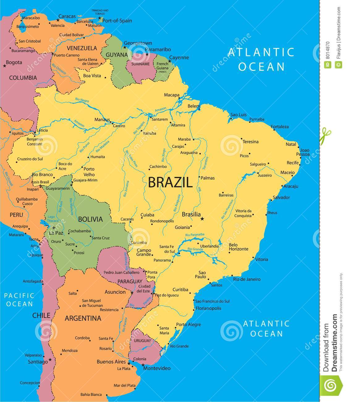 Brazil Vector Map Stock Vector Illustration Of Division