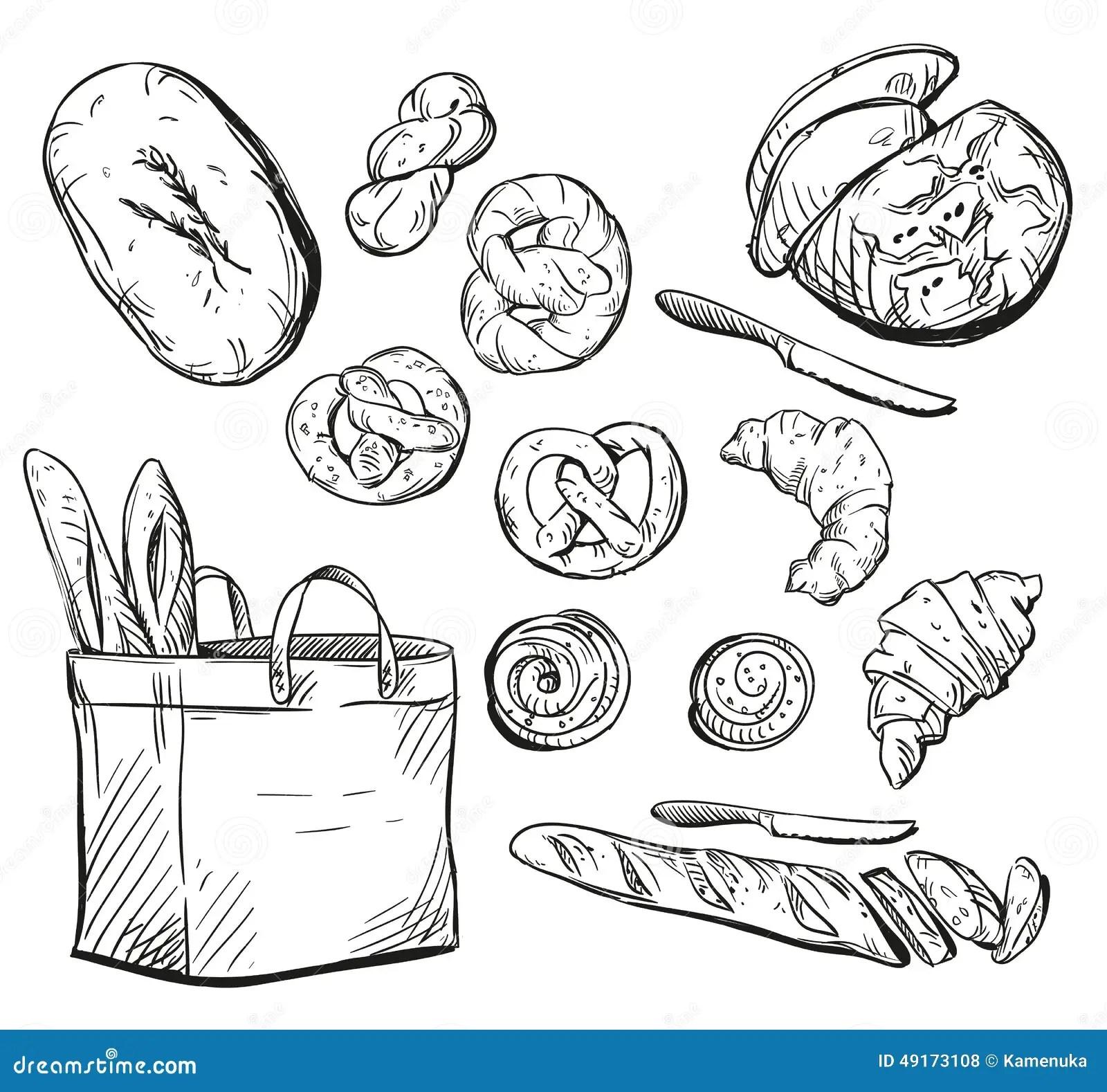 Bread Buns Baking Vector Illustration Stock Vector
