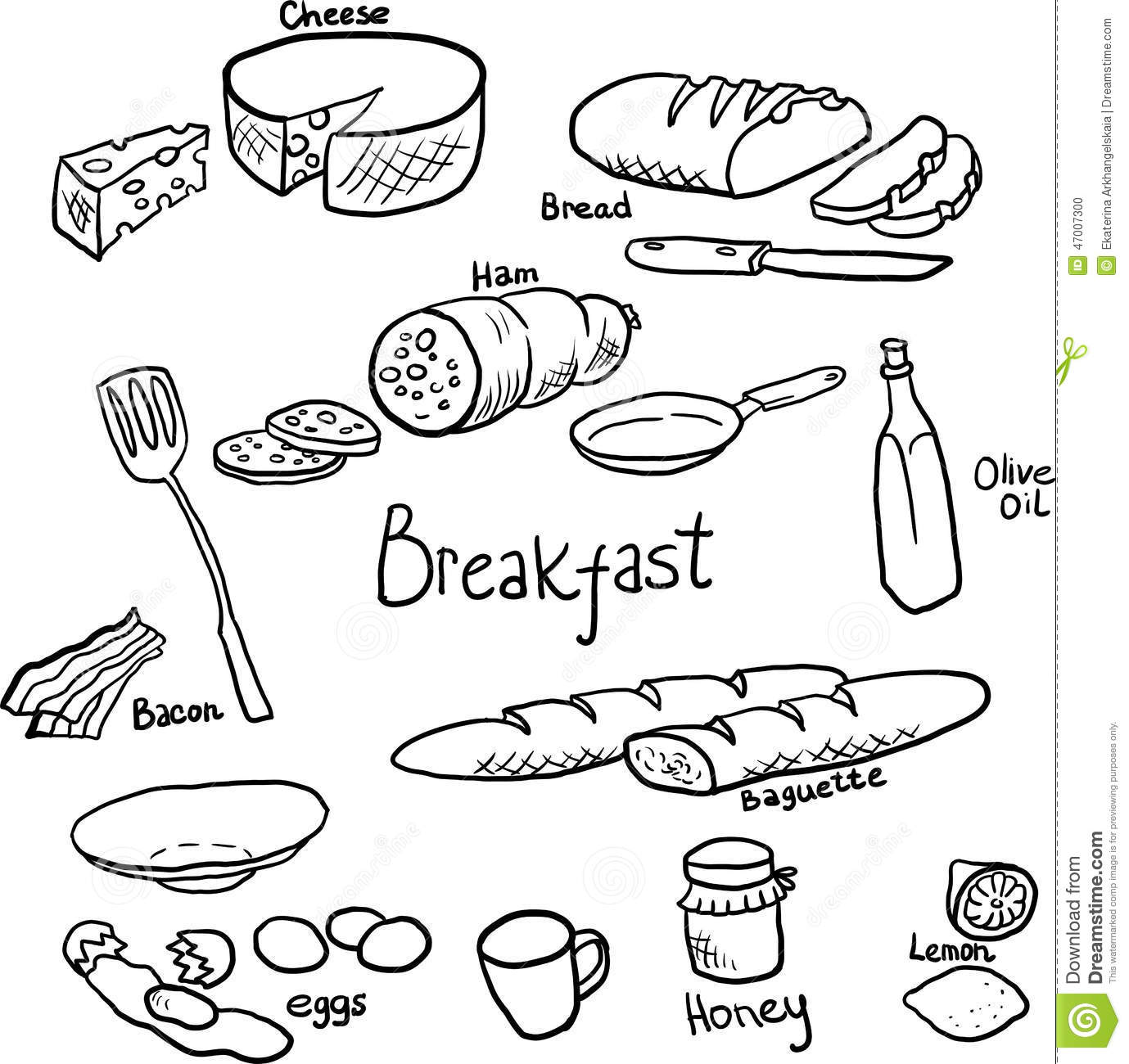 Breakfast Doodle Set Stock Vector Illustration Of Graphic