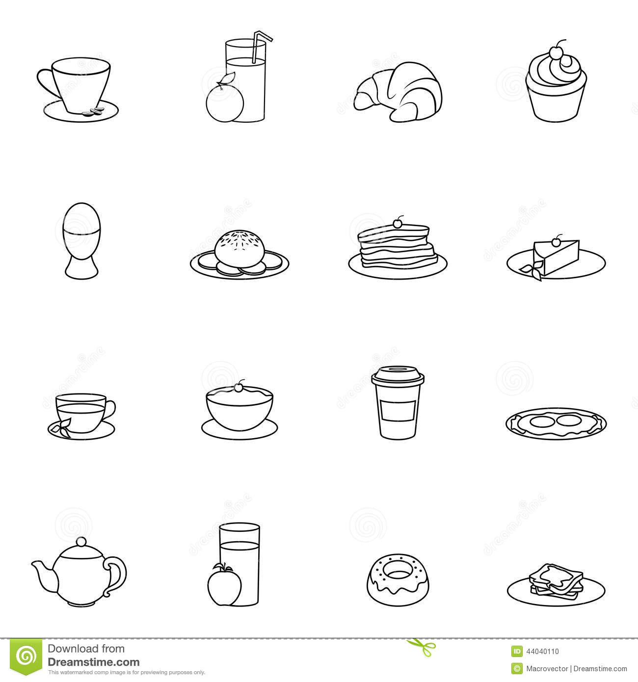 Breakfast Icon Outline Stock Vector