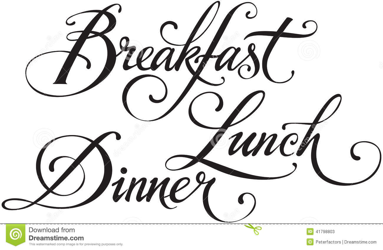 Breakfast Lunch Dinner Stock Vector Illustration Of White