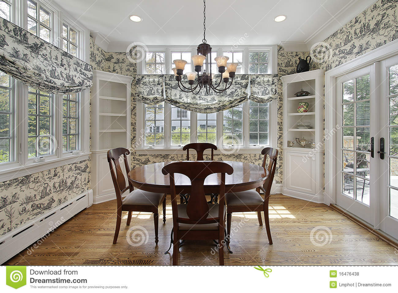 Breakfast Room With Wall Of Windows Stock Photo Image Of
