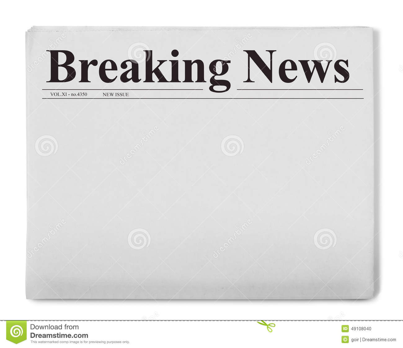 Breaking News Title On Newspaper Stock Photo
