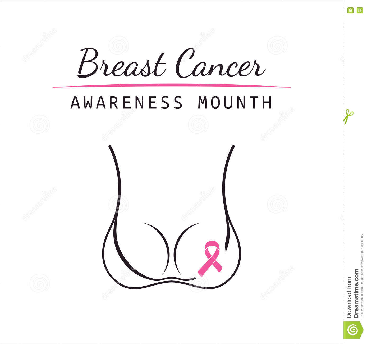 Silhouette Pink Woman With Ribbon Of Breast Cancer Vector