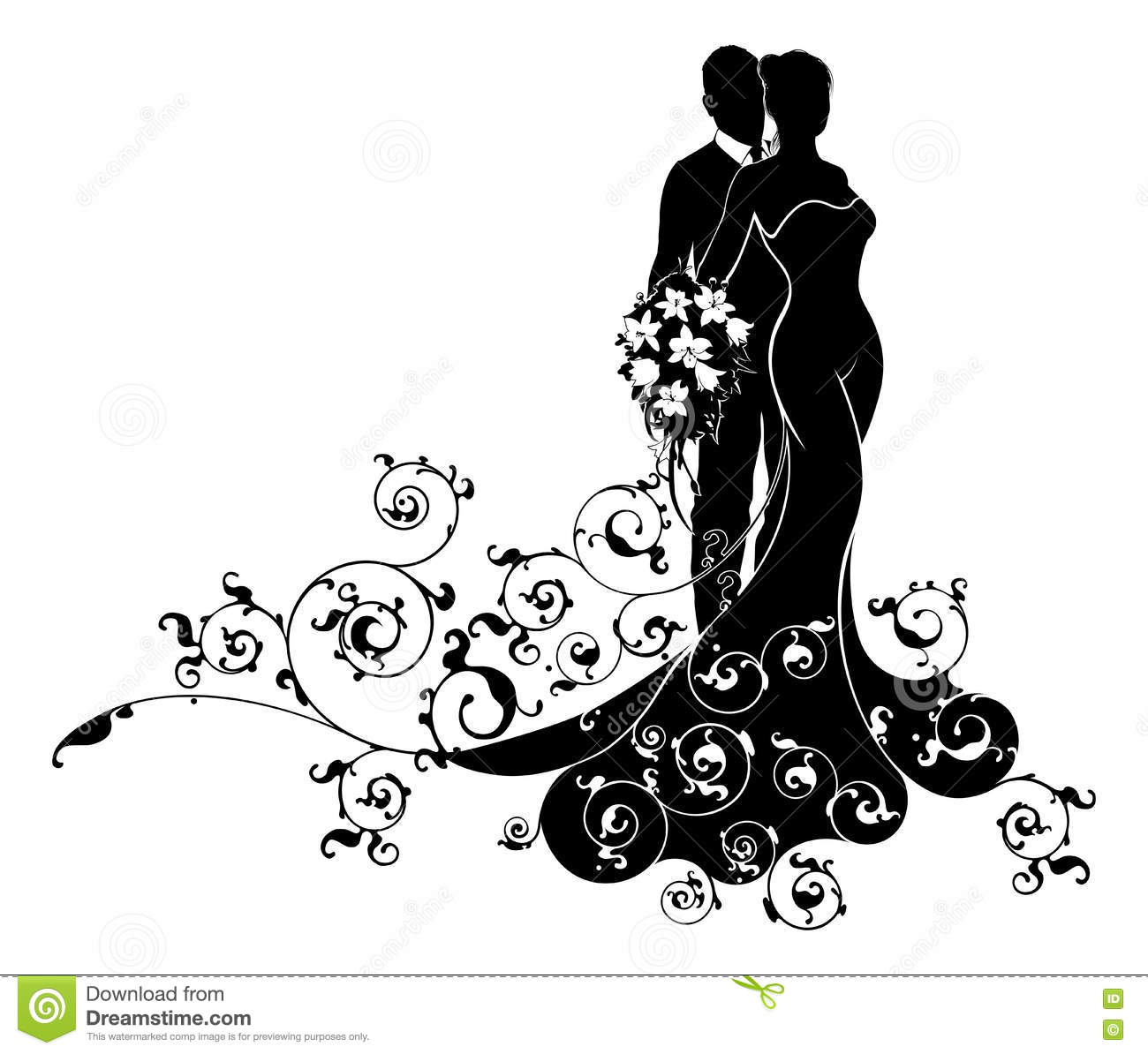 Bride And Groom Wedding Abstract Dress Silhouette Stock
