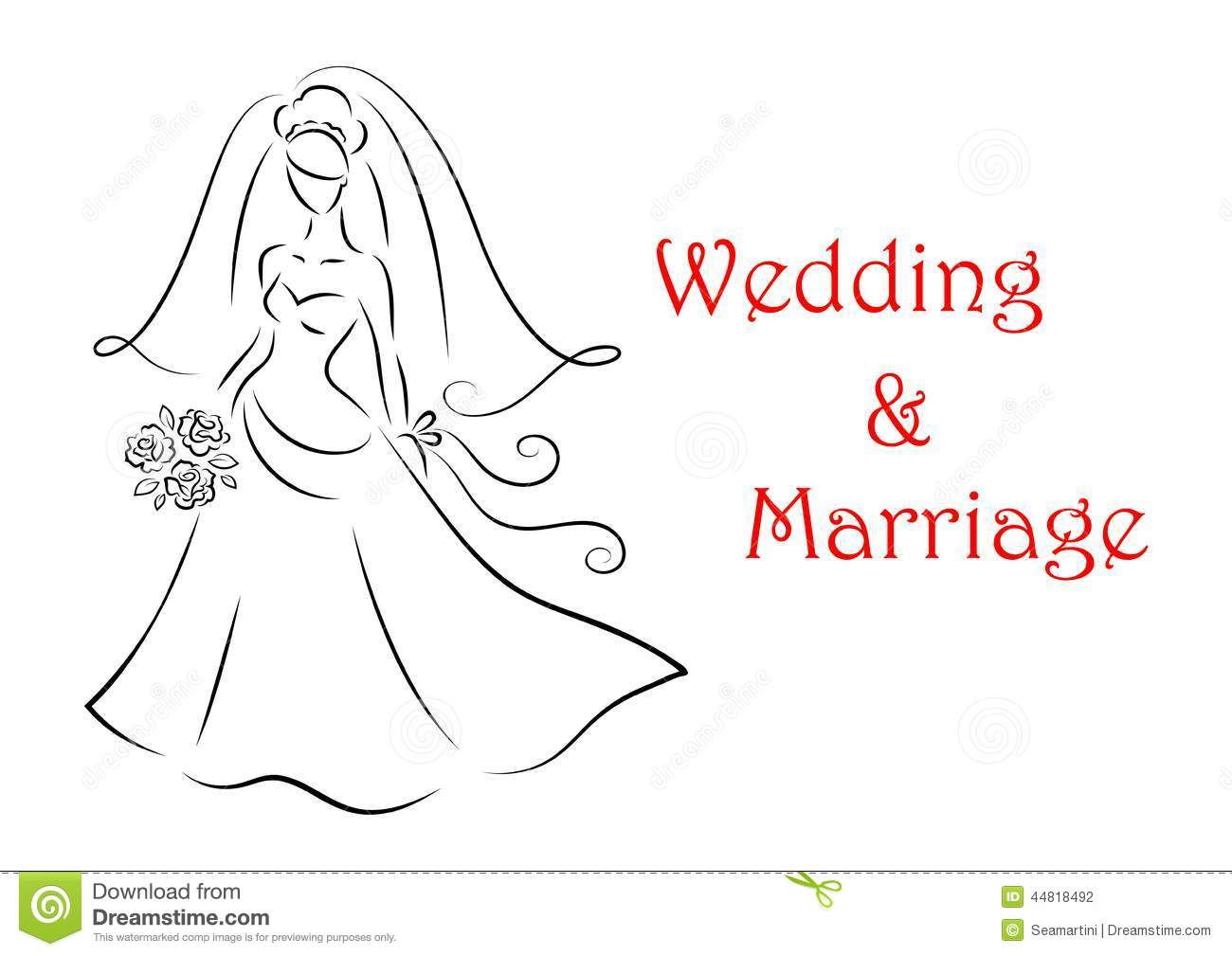 Bride Silhouette For Marriage And Wedding Stock Vector