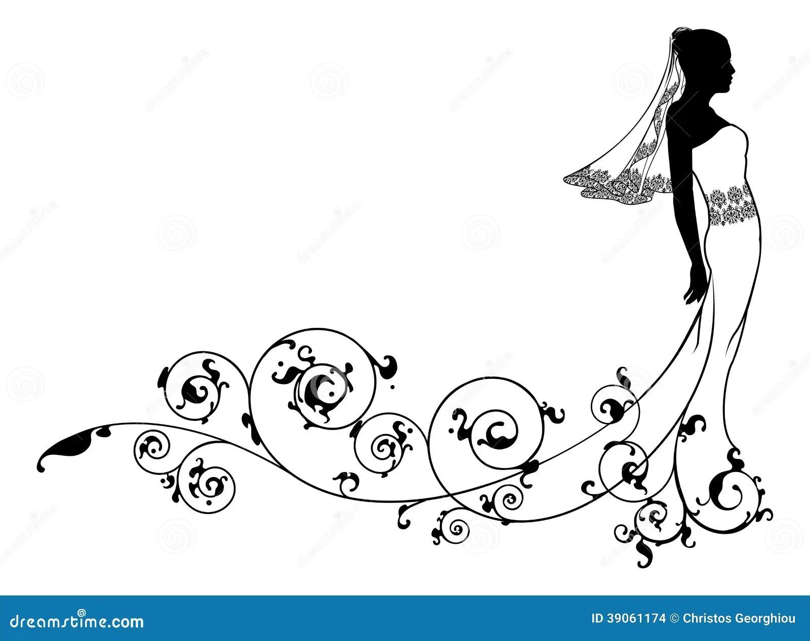Bride Wedding Fashion Silhouette Stock Vector