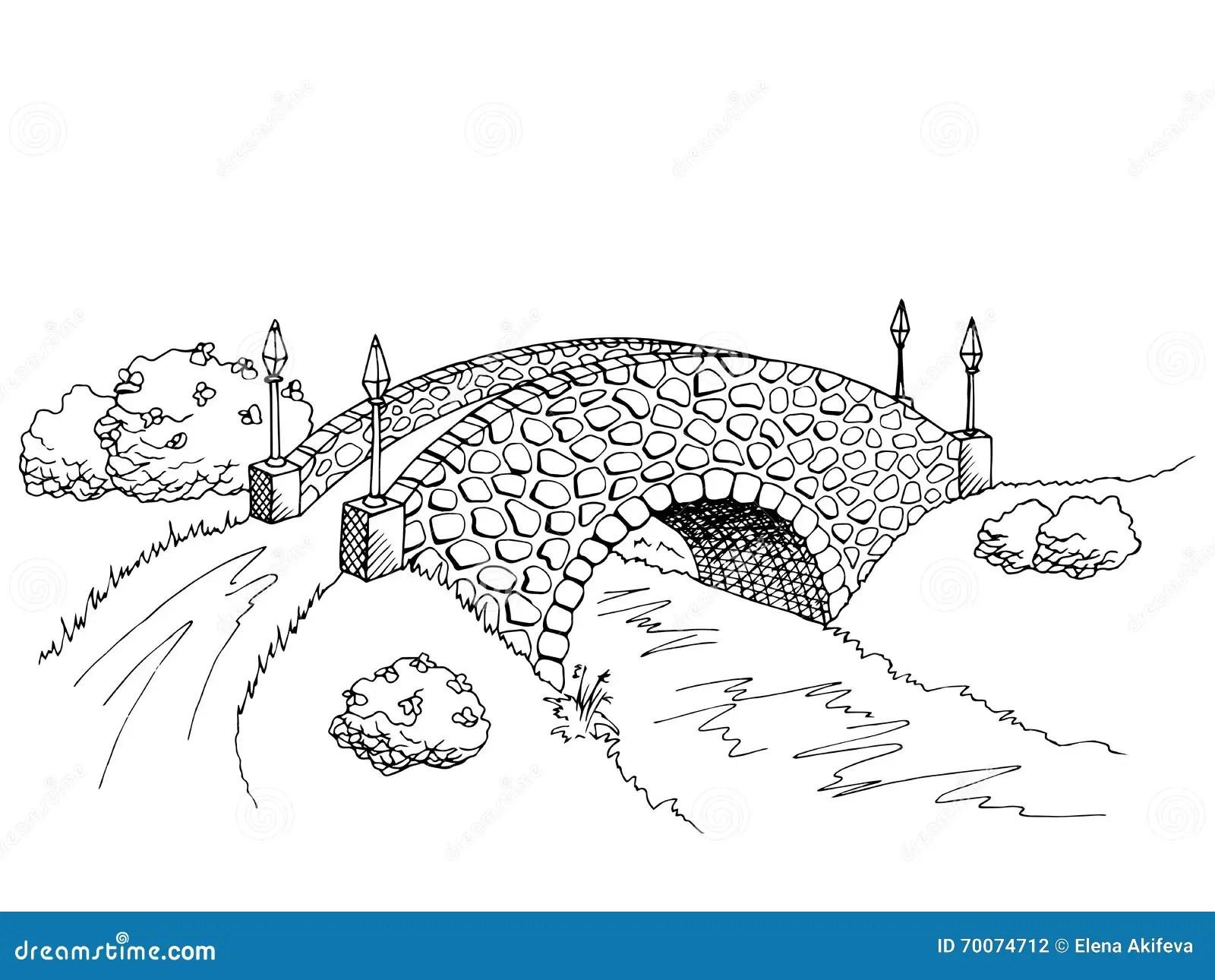 Bridge Graphic Art Black White River Landscape