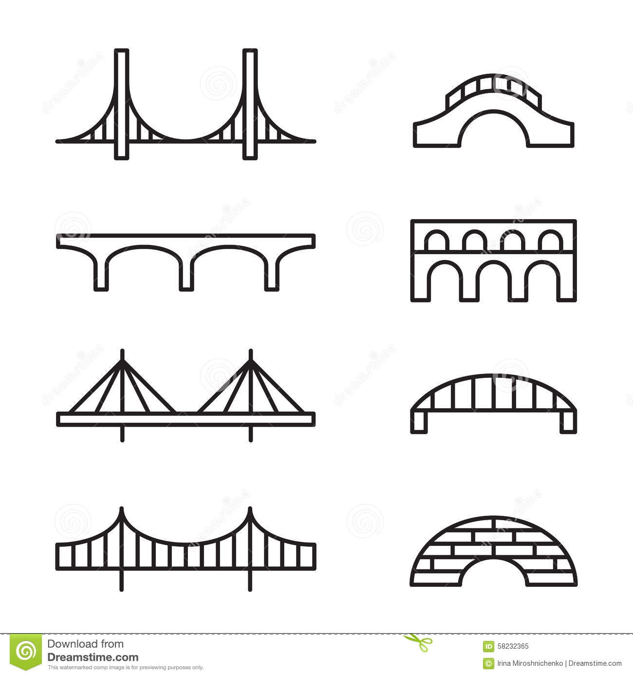 Bridge Icons Stock Vector Illustration Of Simple Design