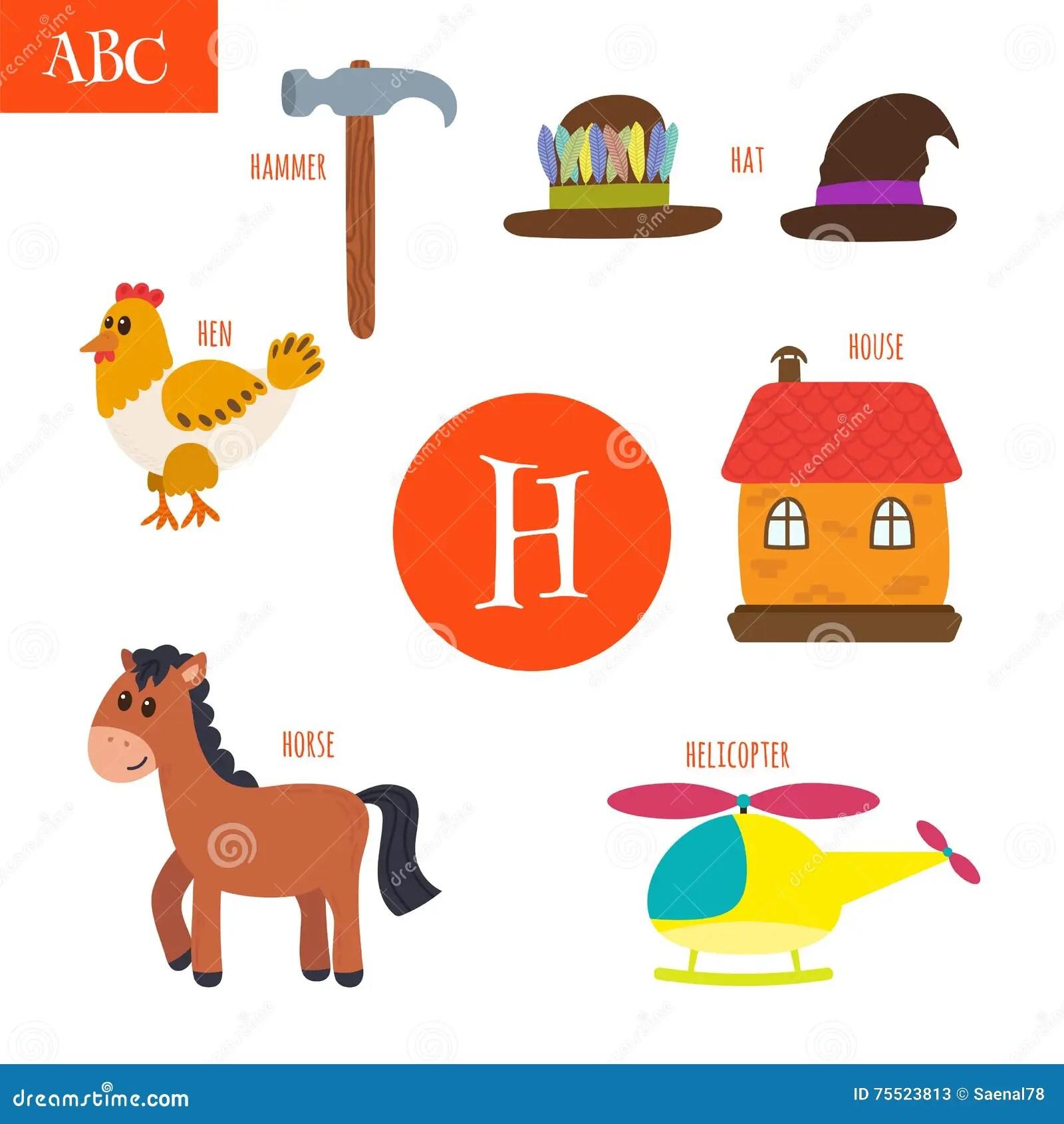Brief H Beeldverhaalalfabet Voor Kinderen Kip Paard Hoed
