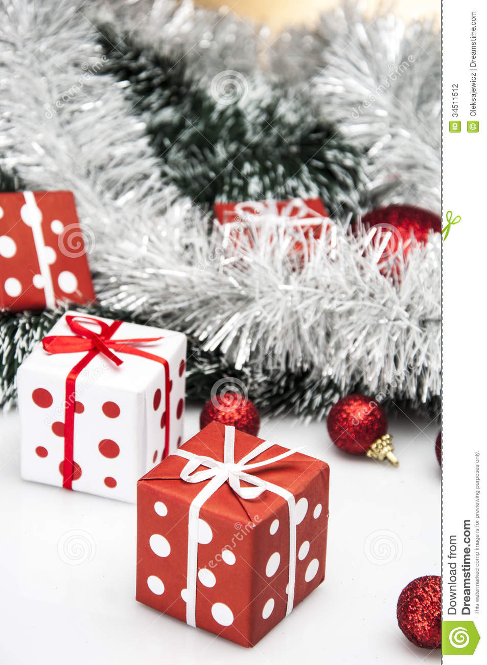 Bright Christmas Decorations With Christmas Stuff Stock
