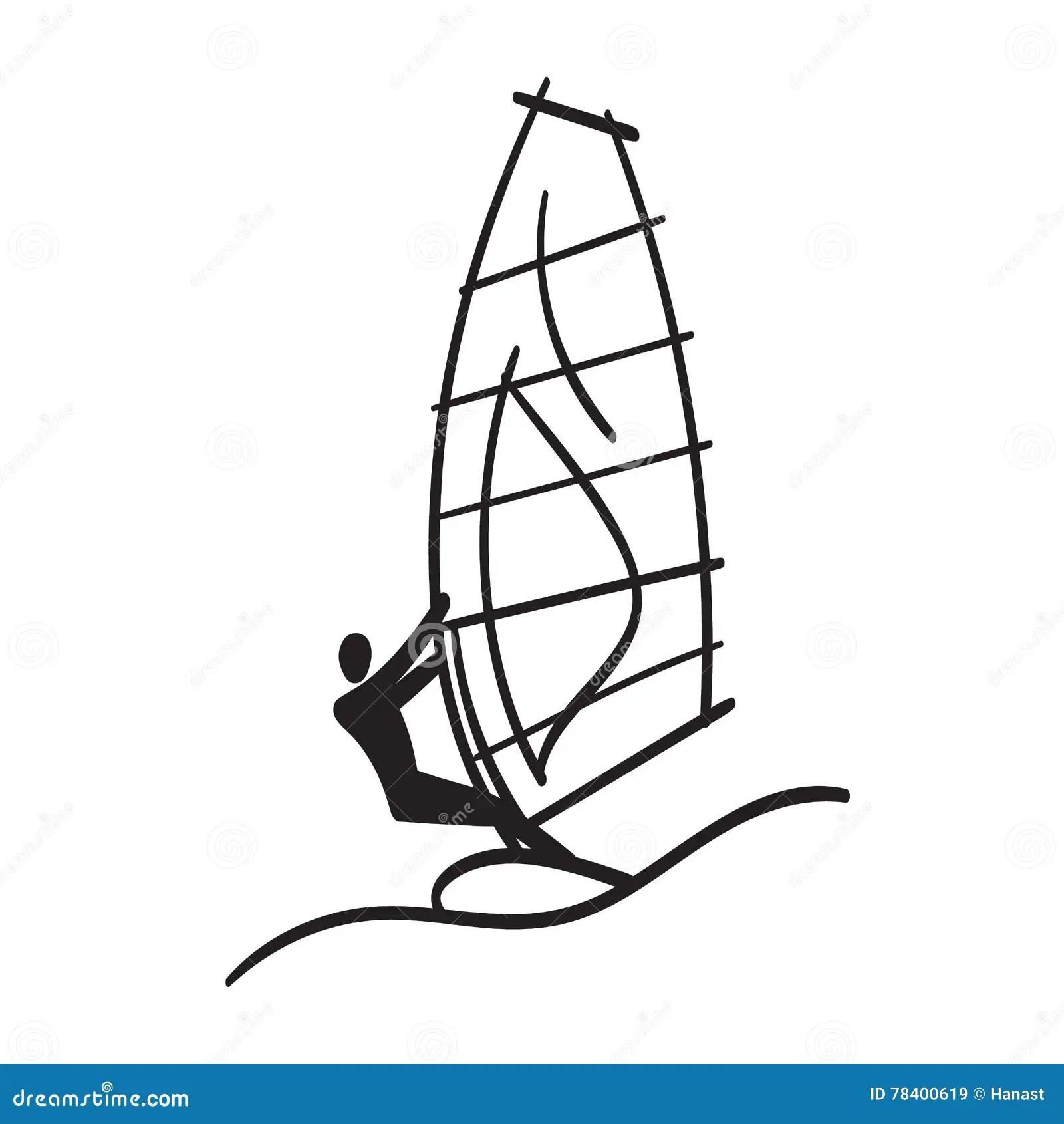 Cartoon Windsurfing Sail