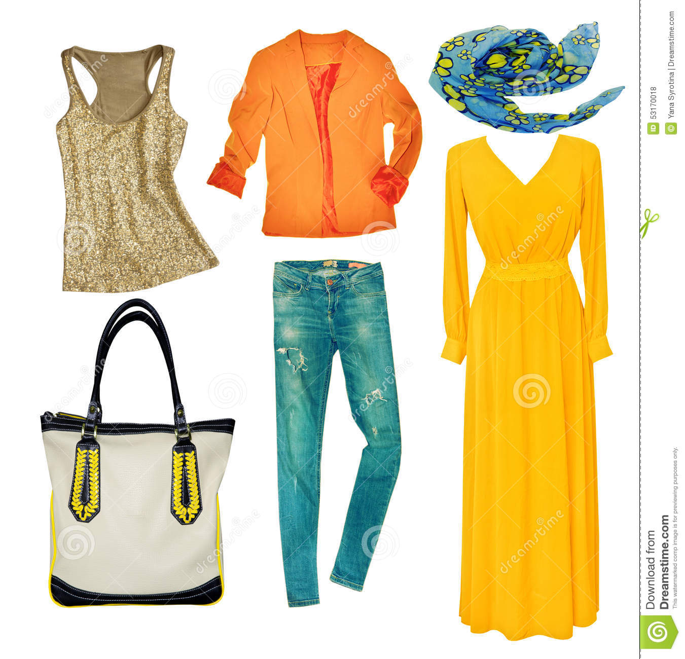 Bright Modern Clothes Set Collage Female Clothing Wear