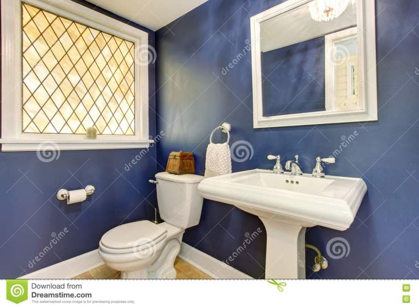 Brilliant Bathroom With Blue Walls  And Hardwood Floor  Stock Image     Download Brilliant Bathroom With Blue Walls  And Hardwood Floor  Stock  Image   Image of