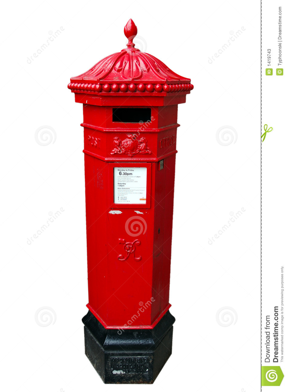 A British Royal Mail Postbox Isolated Stock Image
