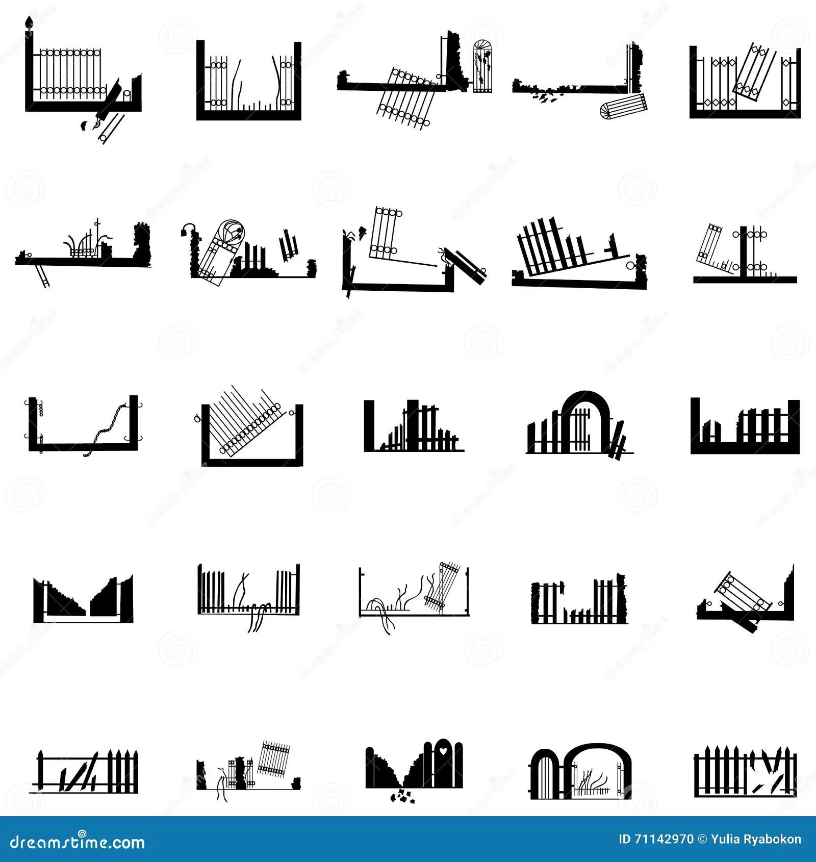 Broken Fence Silhouettes Set Vector Illustration