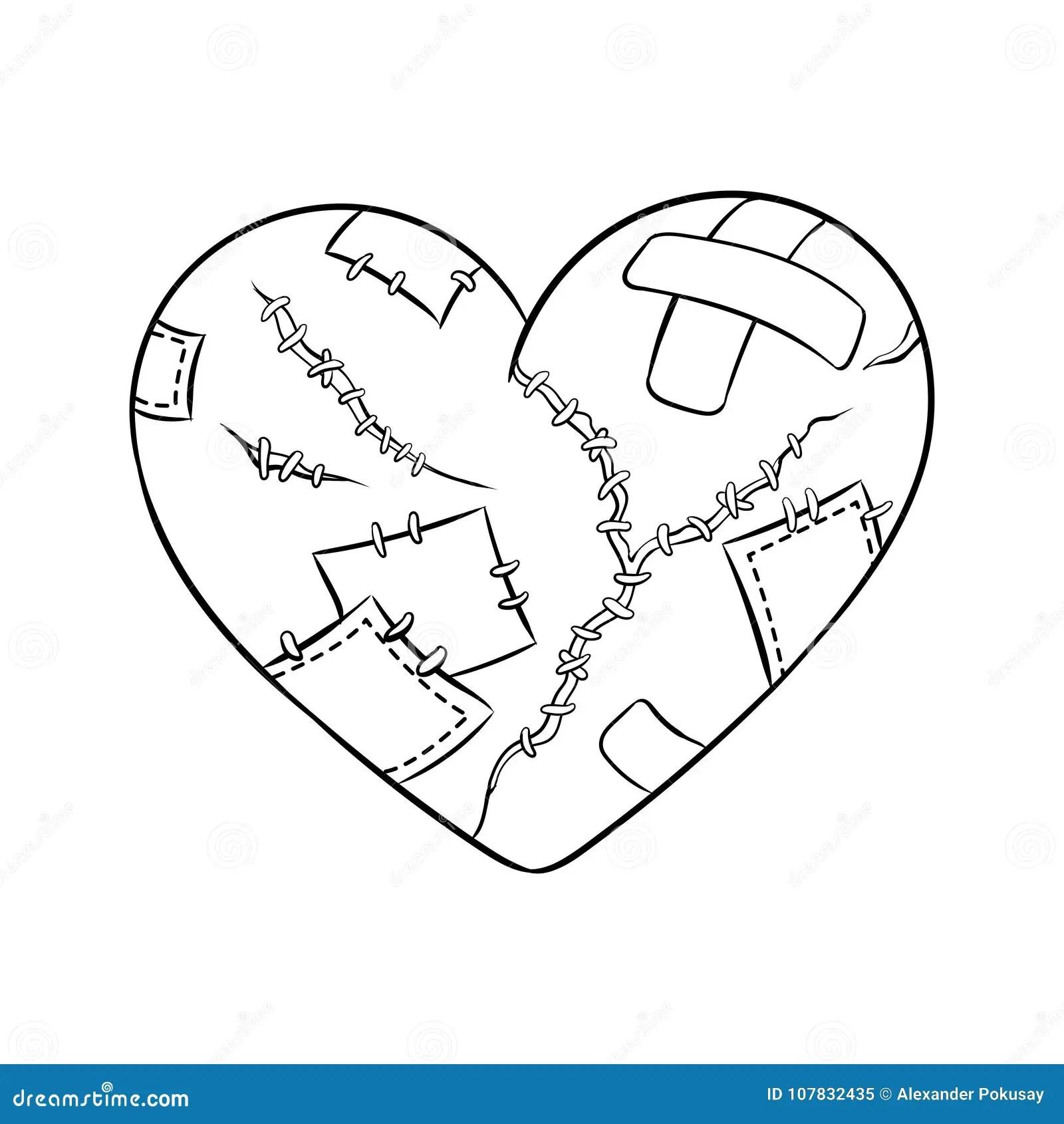 Broken Heart Metaphor Coloring Book Vector Stock Vector