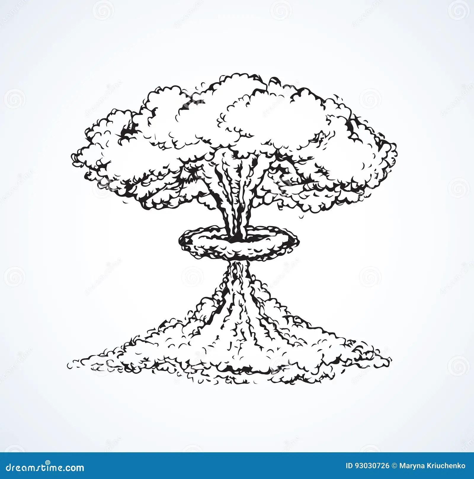 Nuclear Mushroom Cloud Sketch Vector Illustration