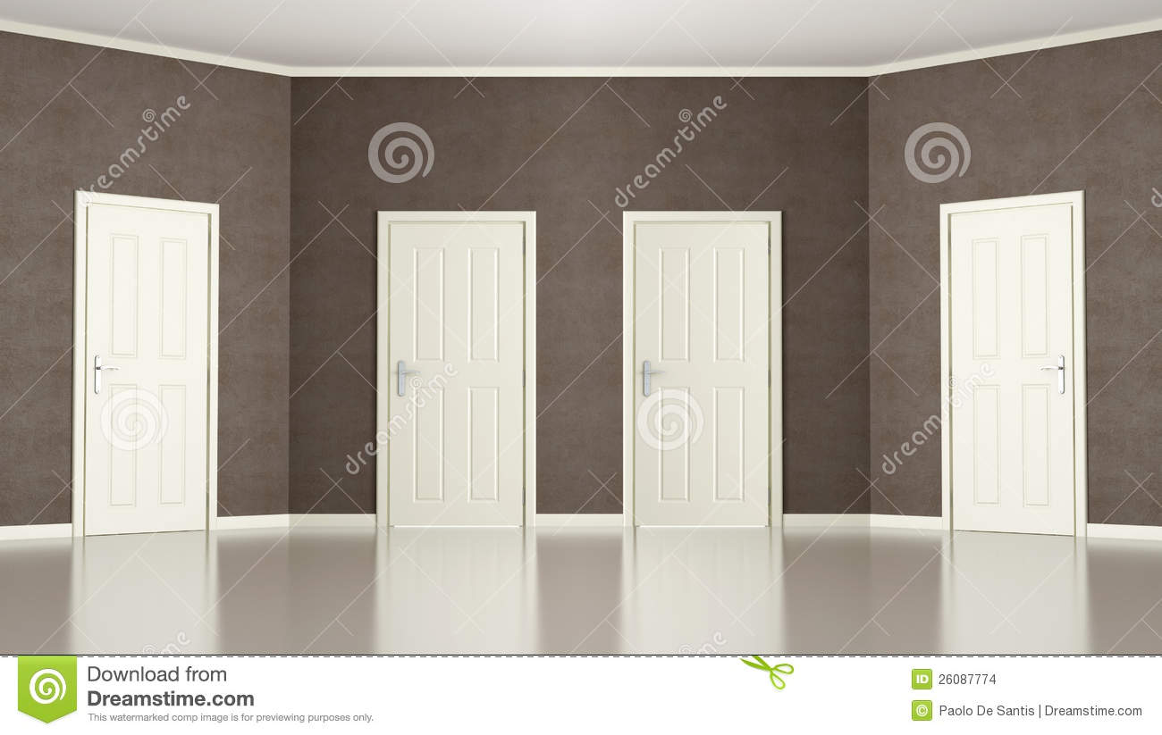 Brown Empty Room With Four Doors Stock Illustration