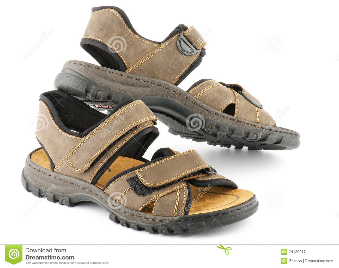 Brown Mans Shoes Sandals With Velcro Fastener Royalty
