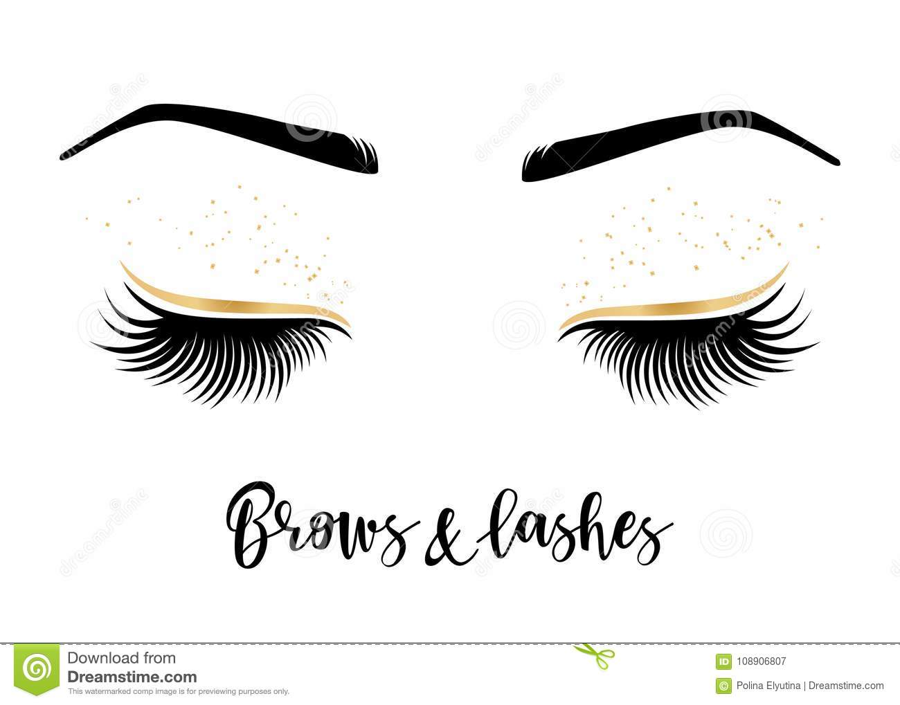 Brows And Lashes Lettering Stock Vector Illustration Of